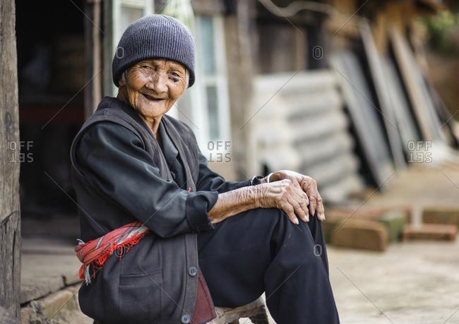 Bulang ethnic minority old woman, Xishuangbanna, Yunnan, China
