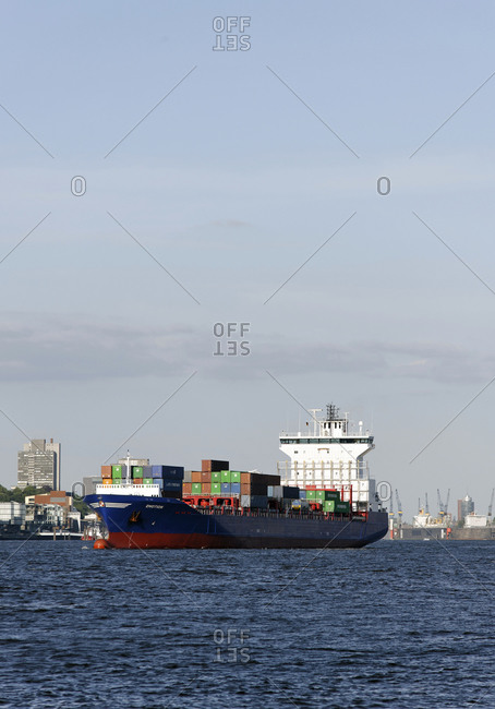 June 1, 2011: Large container ships at Burchardkai Terminal, Port of Hamburg, HHLA, Hamburg, Germany