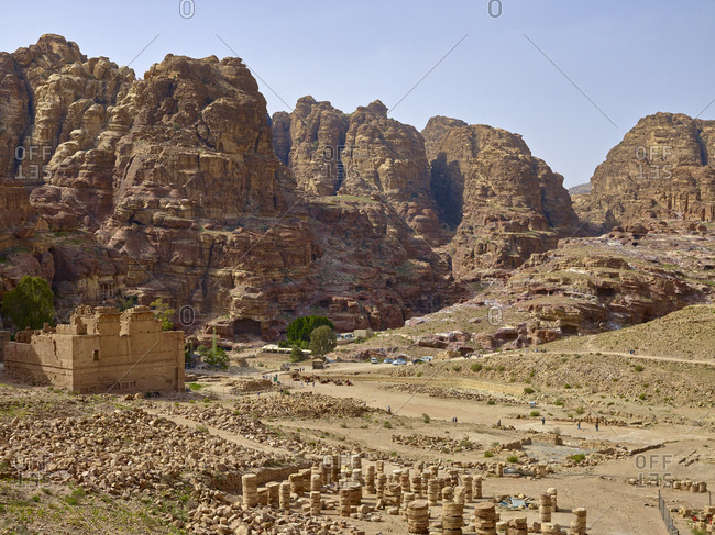 April 10, 2010: Wadi Musa with the Qasr el Bint (Great Temple) in the rock city of Petra, Jordan, Middle East