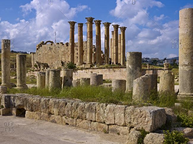 April 8, 2010: Artemis temple in ancient Gerasa or Gerash, Jordan, Western Asia