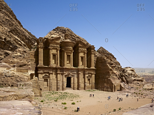April 10, 2010: Rock grave ad-Deir or Monastery at Petra, Jordan, Middle East