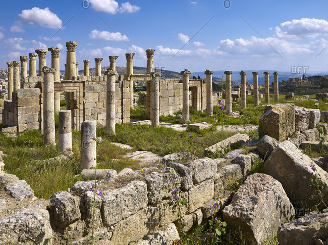 April 8, 2010: Cathedral in ancient Jerash, Jordan, Middle East