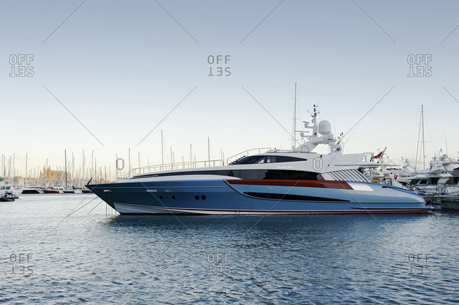 February 23, 2010: Marina, luxury yacht Benita Blue, Avinguda de Gabriel Roca, Palma Majorca, Majorca, Balearic Islands, Spain