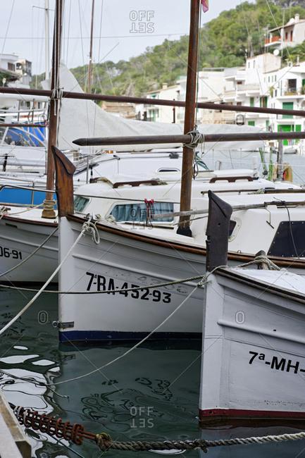 White fishing boats in the bay, Cala Figuera, Maritime, Majorca, Balearic Islands, Spain