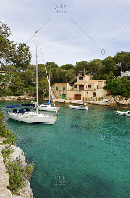 February 23, 2010: Boats and yachts in the bay, Cala Figuera, Mallorca, Balearic Islands, Spain