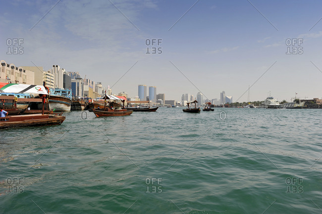 February 1, 2010: Abra water taxi, Dubai Creek, Dubai, United Arab Emirates, Middle East
