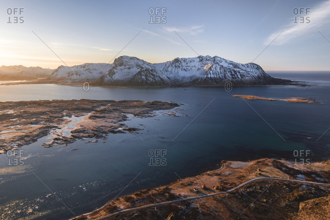 View from Hoven to neighboring islands and mountains in the evening light, Lofoten, Nordland, Norway