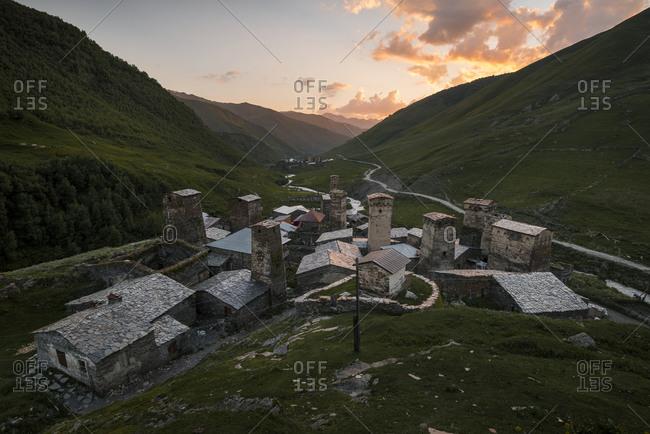Defensive towers of Ushguli at sunset with views of Murkmili, Ushguli, Upper Svanetia, Georgia