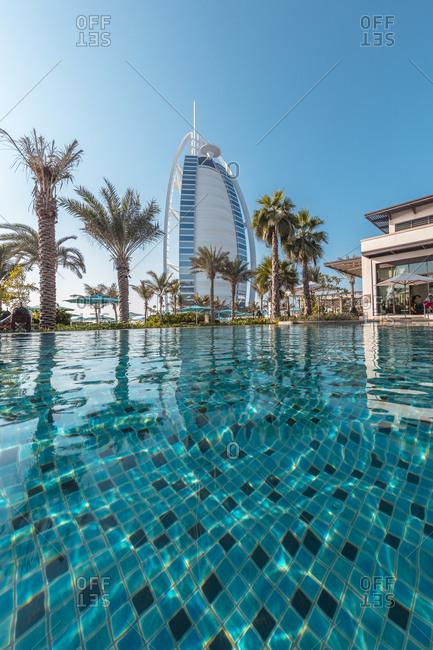 September 30, 2017: Pool perspective of the famous Burj Al Arab Hotel, Dubai