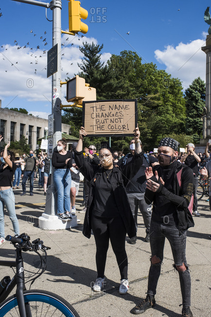 New York City, New York, USA - May 31, 2020: Peaceful protest at Grand Army Plaza demanding justice for the death of George Floyd, through Prospect Park, organized by Park Slope families, Brooklyn , New York City, USA.