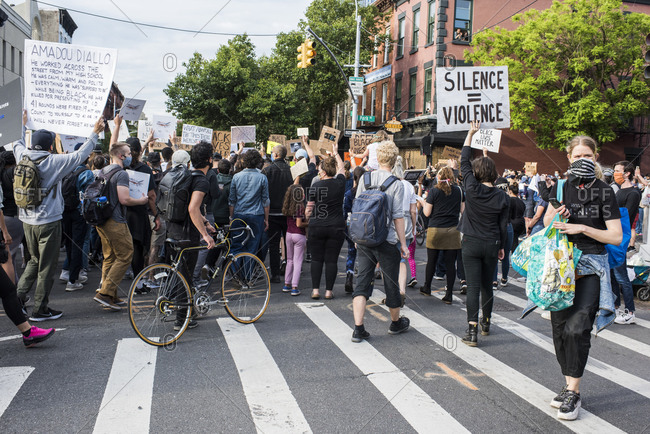 New York City, New York, USA - June 02, 2020: Thousands protested in solidarity for justice in the death of Georg Floyd and demanded change, Park Slope, Brooklyn , New York City, USA.