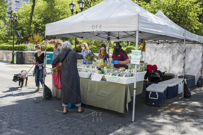 New York City, New York, USA - May 21, 2020: Farm Stand with farmer's and market-goers wearing masks and social distancing, Union Square Farmer's Market, New York City, USA.