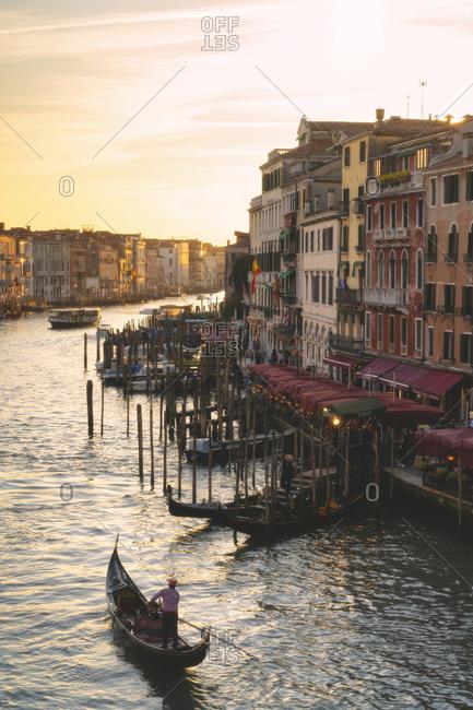 Venice, Veneto, Italy - February 21, 2020: Sunset from Rialto Bridge in Venice, Italy, Europe.
