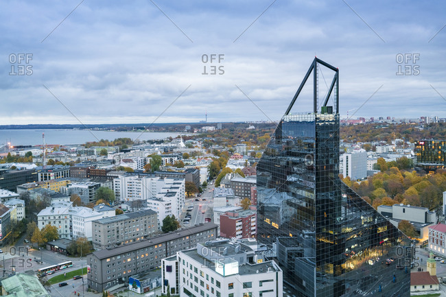Estonia, Harju County, Tallinn - October 22, 2017: View from above of modern glass towers in Talinn city center