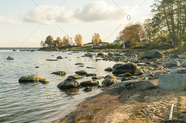 The beach of Baltic sea at Kasmu fishing village with the huge rocks