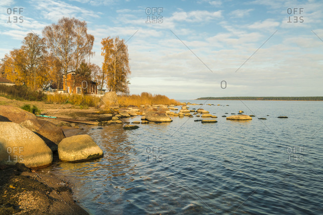 Kasmu, Laane-Viru County, Estonia - October 24, 2017: The beach of Baltic sea at Kasmu fishing village with the huge rocks