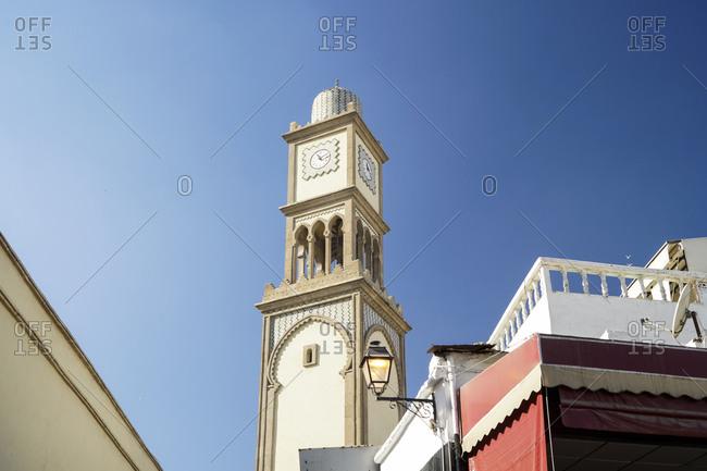 Old clock tower in historic Medina at the center of Casablanca