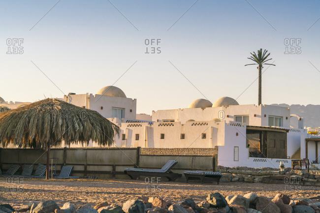 Bedouin style tourist resort in Dahab with sunbathing decks