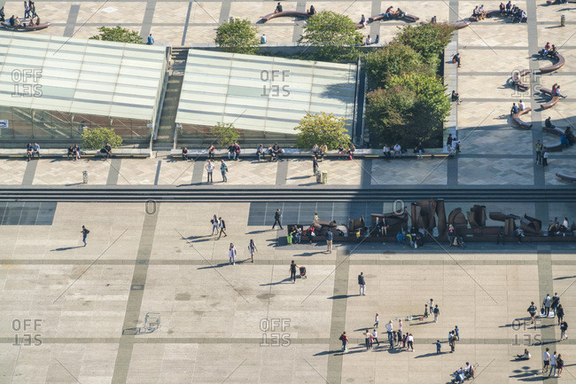 Paris, France - October 14, 2017: View of La Defense from above with people