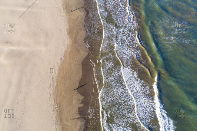 Aerial abstract  view of Valencia beach with waves