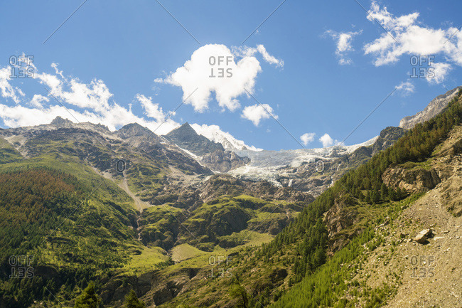 View of the Alps near Zermatt with glacier in the background