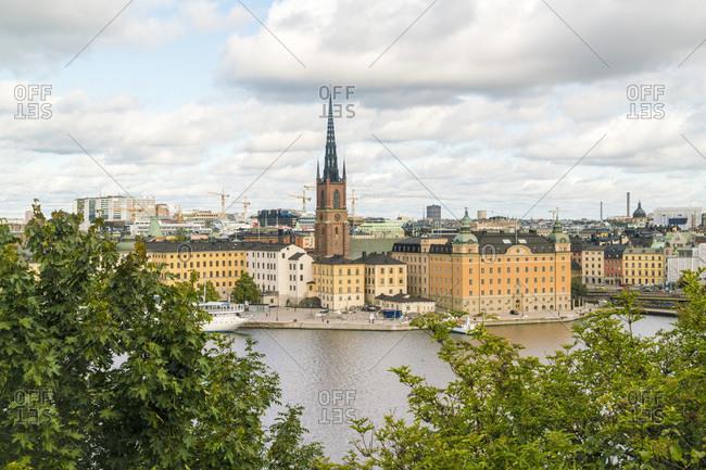 Stockholm, Stockholm County, Sweden - September 10, 2017: View of Stockholm from Sodermalm with Riddarholmen in summer