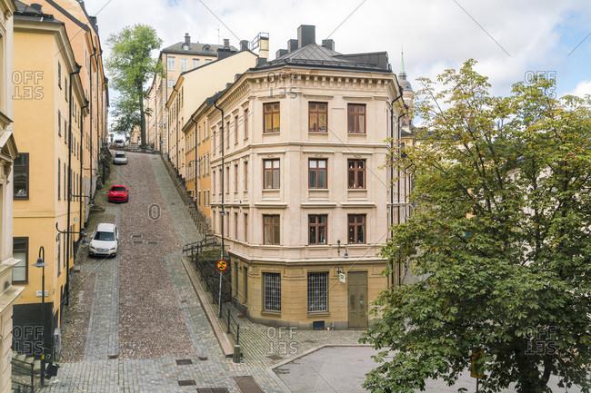 Stockholm, Stockholm County, Sweden - September 10, 2017: Historic houses at Sodermalm at Kvarteret Ugglan quarter