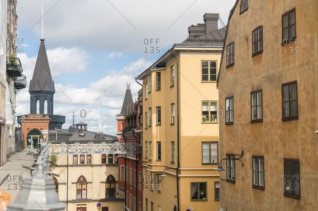 Stockholm, Stockholm County, Sweden - September 10, 2017: Old houses in Sodermalm neighborhood