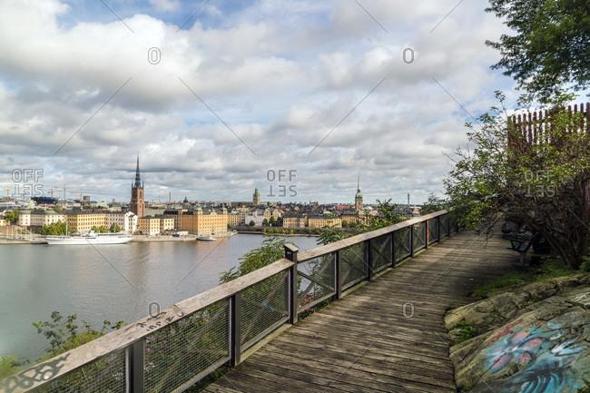 Sweden, Stockholm County, Stockholm - September 10, 2017: View of Stockholm from Sodermalm with Riddarholmen in summer