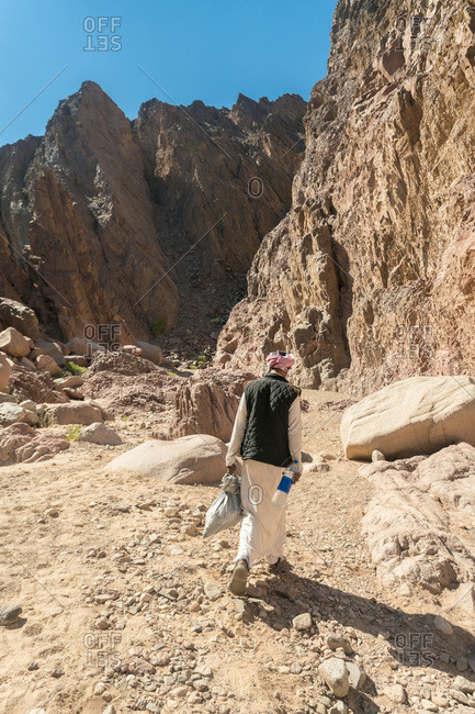 Bedouin tour guide in Sinai mountains near Nuweiba and Saint Catrine