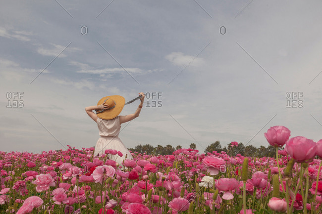 Woman in hat in field of pink flowers