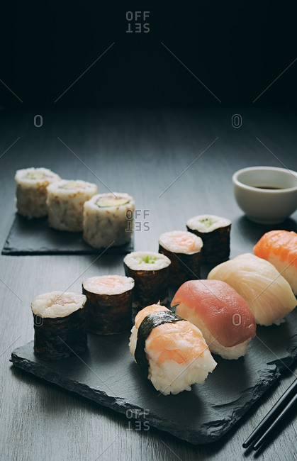 Sushi and rolls ready to eat