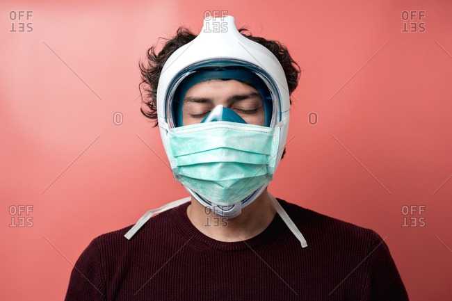 Man with mask and underwater mask to protect himself from pandemic