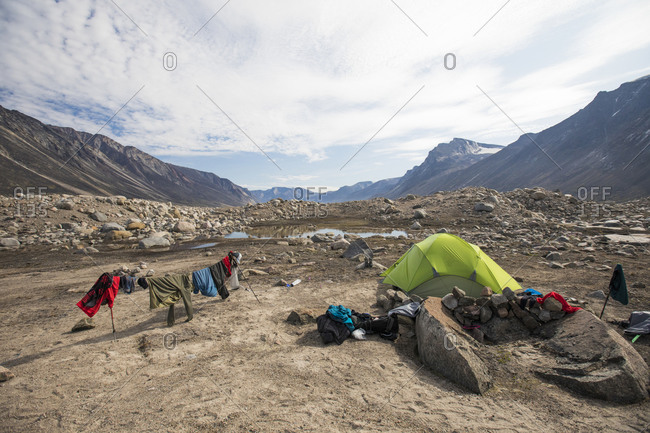 Campsite on a moraine in Akshayak Pass, Canada.