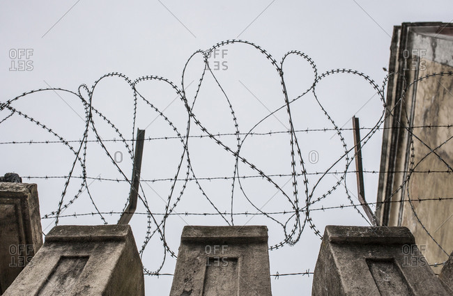 Concertina wire placed on the top of a wall