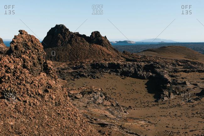 Looking across the barren volcanic landscape of Bartolome Island