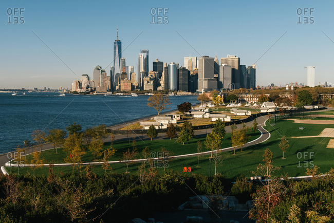 New York, NY, United States - October 24, 2019: Governors Island and the NYC skyline as seen from Outlook Hill