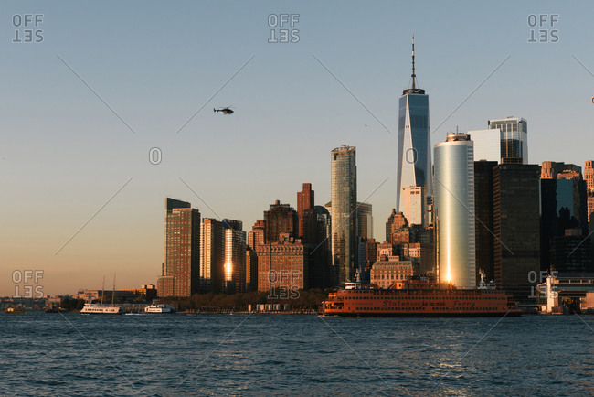 New York, NY, United States - October 24, 2019: Southern Manhattan financial district as seen from across the water