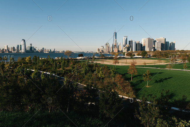 Looking down the hills of Governors Island toward the NYC skyline