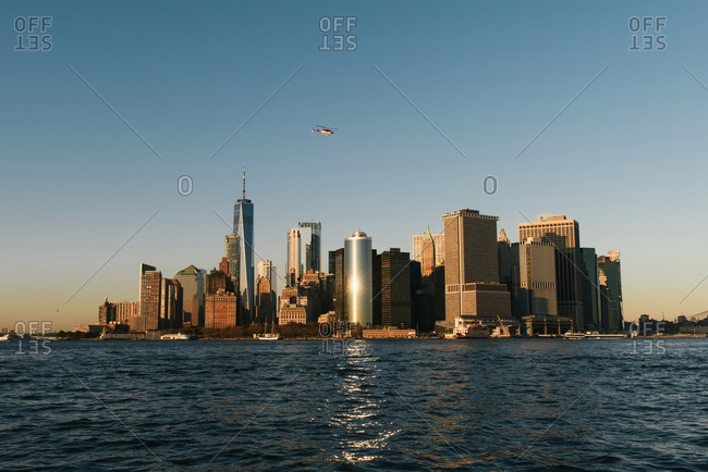 New York, NY, United States - October 24, 2019: The New York City skyline of southern Manhattan seen from water