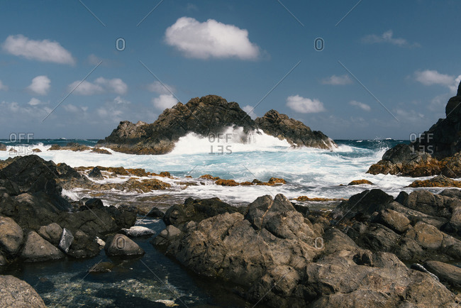 Waves and swells crash into the rocks on the Atlantic Coast