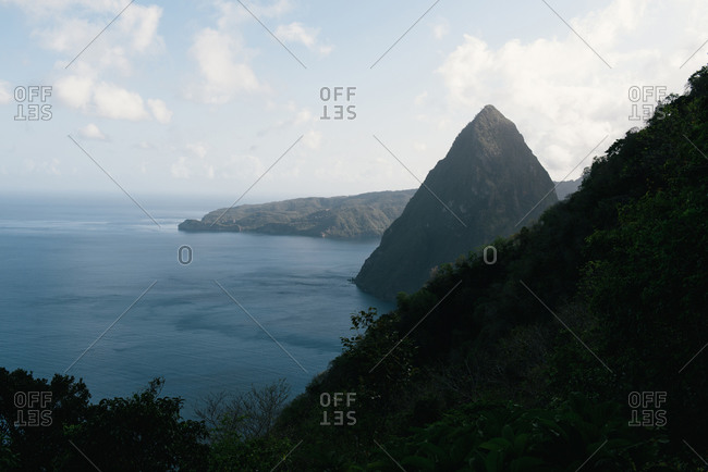 Hiking the Saint Lucia coast line up to Gros Piton with sweeping views
