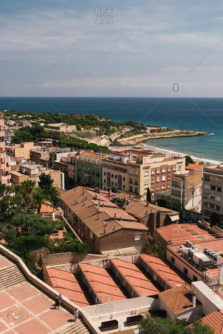 Tarragona, CT, Spain - August 26, 2018: Coastal view of the ancient Roman city of Tarragona