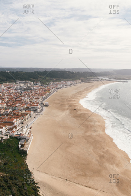 Nazare, Leiria District, Portugal - February 28, 2019: The surf and beach town of Nazare as soon from its promontory