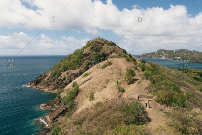 Remains of the fortifications on Pidgeon Island in Saint Lucia