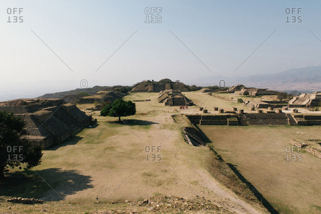 Monte Alban, Oax., Mexico - March 21, 2018: Wide shot of the city center of ancient Zapotec civ of Monte Alban