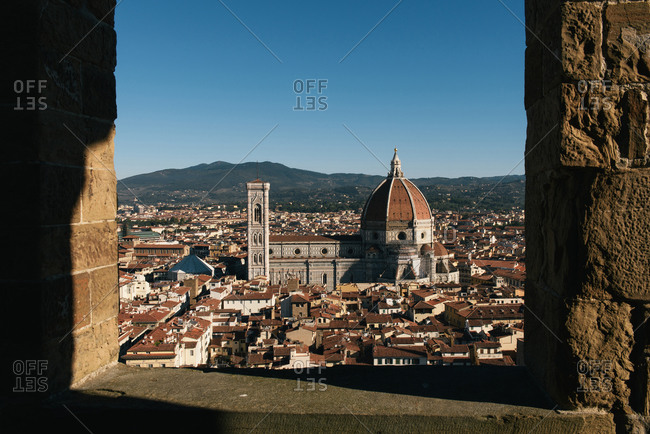 Florence, Tuscany, Italy - September 28, 2018: The Florence Cathedral seen from the Tower of Arnolfo