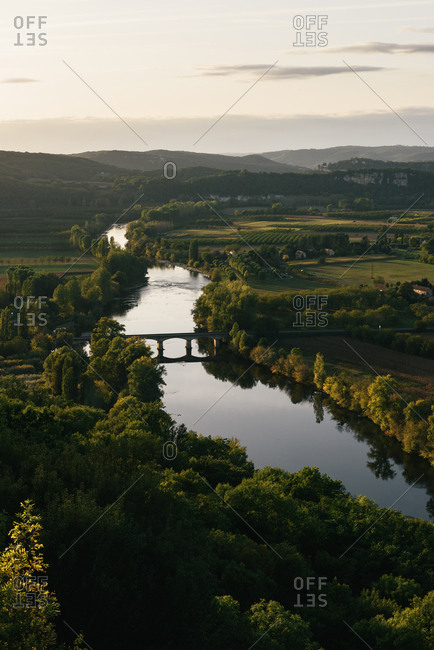 The Dordogne River meanders its way across the farms of south France
