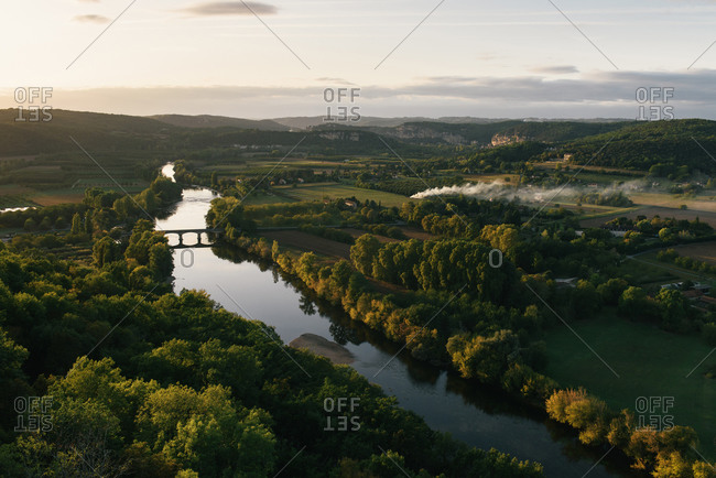 The Dordogne River and farmland of south France around Domme