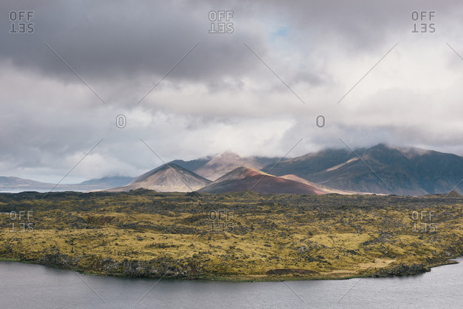 The dramatic landscape of Iceland of lava flows, mountains, and rivers